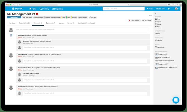 Enterprise Architecture Comments LeanIX