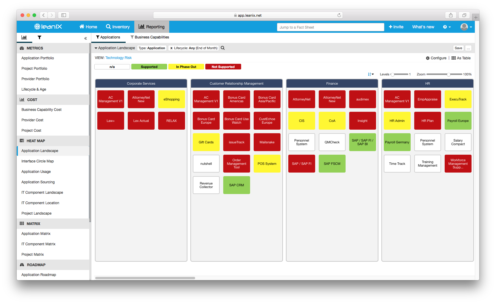Application Landscape heat map showing the IT components that the application is built on are not supported anymore V3