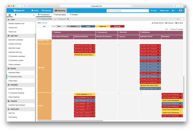 A Project Roadmap, drilled down to Applications, in LeanIX.