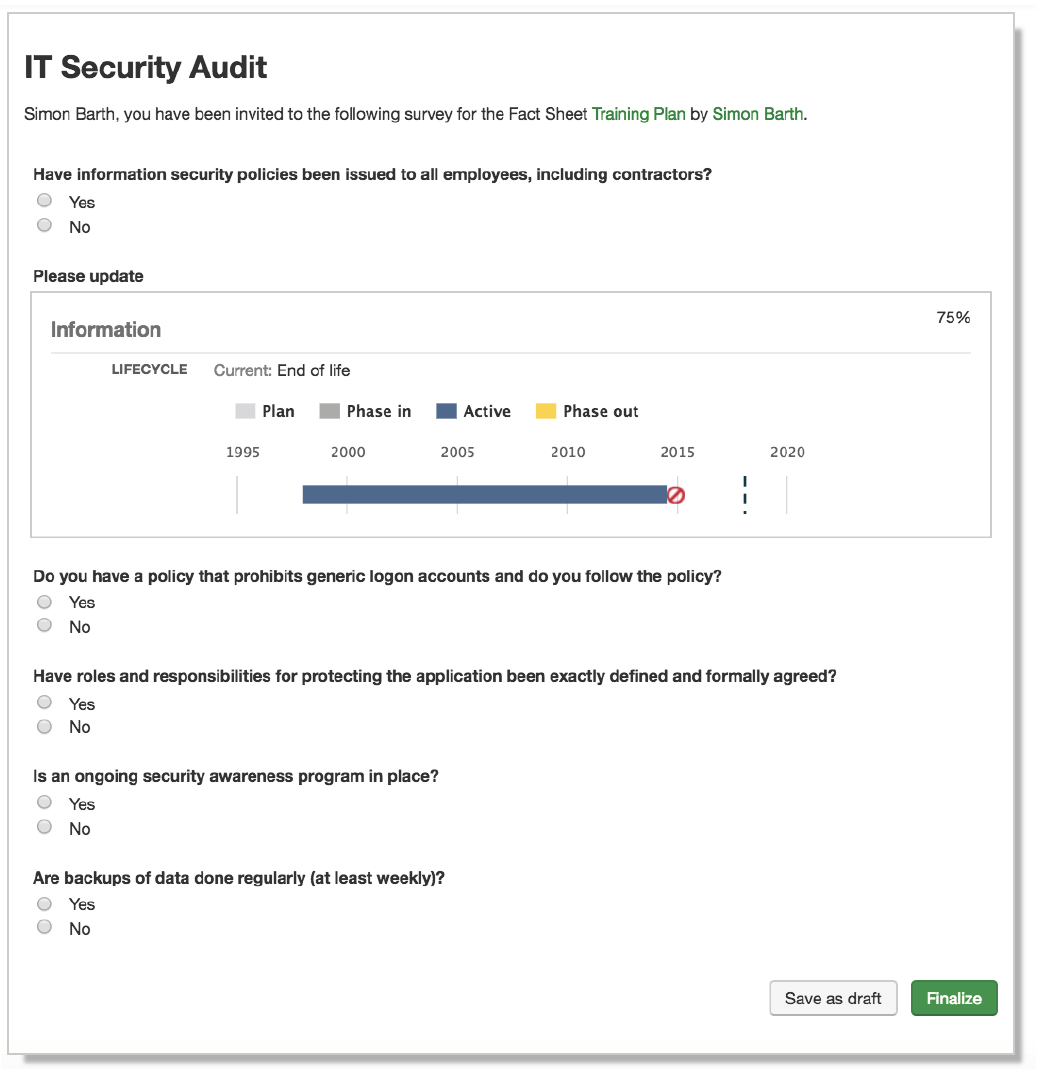 LeanIX Survey about IT security and compliance